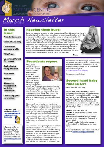 UHPC Newsletter March 2012 - Parents Centres New Zealand Inc
