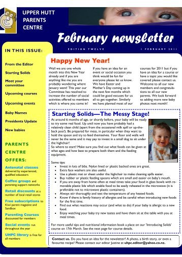 February newsletter - Parents Centres New Zealand Inc