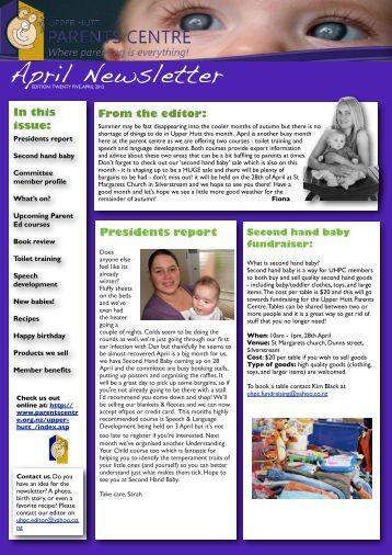 UHPC Newsletter April 2012 - Parents Centres New Zealand Inc