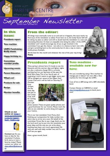 UHPC Newsletter September 2012 - Parents Centres New Zealand Inc
