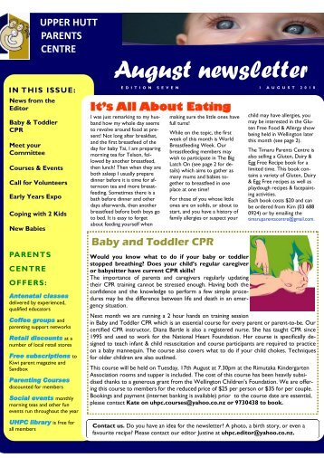 August newsletter - Parents Centres New Zealand Inc
