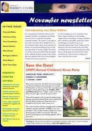 UHPC Newsletter November 2011 - Parents Centres New Zealand Inc