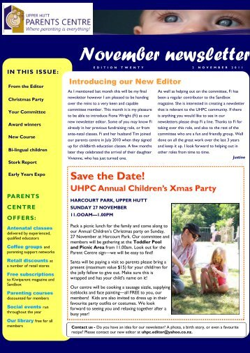 UHPC Newsletter November 2011 - Parents Centres New Zealand Inc