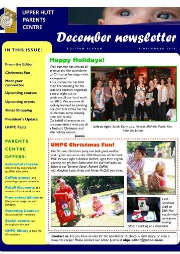 December newsletter - Parents Centres New Zealand Inc