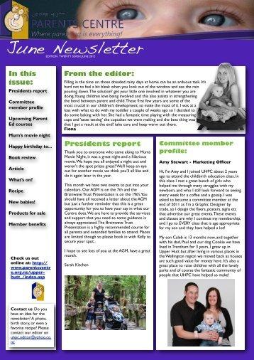 UHPC Newsletter June 2012 - Parents Centres New Zealand Inc