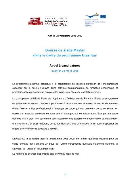 Bourse De Stage Master Dans Le Cadre Du Programme Erasmus