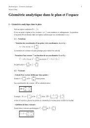 Géométrie analytique 2D et 3D