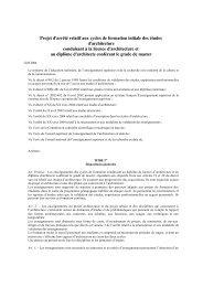 Projet d'arrêté relatif aux cycles de formation initiale des études d ...