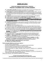 Liste des documents à fournir