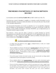 premieres inscriptions et reinscriptions 2011/2012 - Ecole Nationale ...