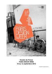 Dossier de Presse PARIS DESIGN WEEK 10 au 16 septembre 2012
