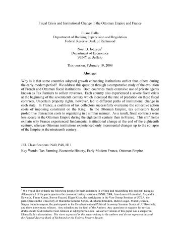 Fiscal Crisis and Institutional Change in the Ottoman Empire and ...