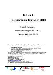 Berliner Sommerferien-Kalender 2013 - JugendKulturService