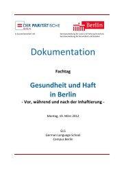 Fachtag Gesundheit und Haft in Berlin - Der Paritätische Berlin