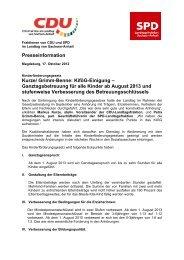 Presseinformation der CDU- und SPD-Landtagfraktionen