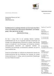Qualitätsbericht der zuständigen Behörde nach dem Gesetz über ...