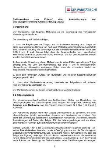 und Zulassungsverordnung Arbeitsförderung (AZAV)