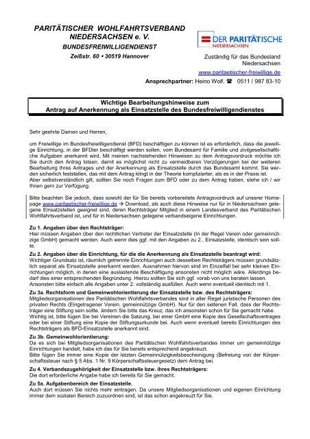 Hinweise Anerkennung - Paritaetischer-freiwillige.de