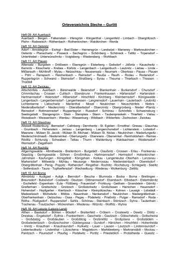 Orteverzeichnis Steche – Gurlitt - Familienarchiv Papsdorf