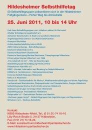 Hildesheimer Selbsthilfetag 25. Juni 2011, 10 bis 14 Uhr