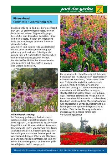 Blumenband Sortimente / Sammlungen XXVI   Park Der Gärten
