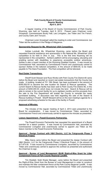 Regular Meeting: April 09, 2013 - Park County Government