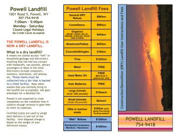 Powell Landfill User Brochure - Park County Government