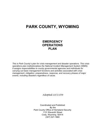 Emergency Operations Plan - Park County Government
