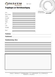 Dimensionierungs-Formular - Parkem AG