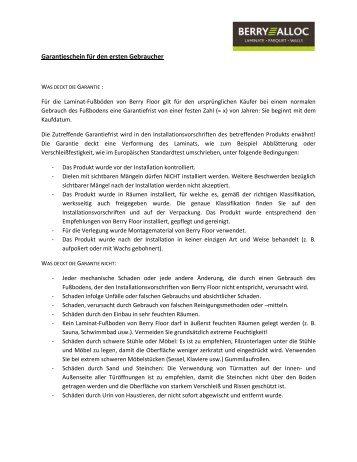 Garantieschein für den ersten Gebraucher - Parkett-Store24
