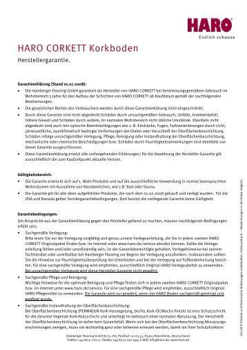 HARO CORKETT Korkboden - HARO Partner Serviceportal ...