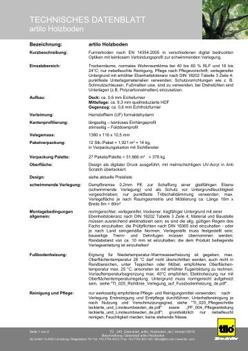 TECHNISCHES DATENBLATT - Parkett-Store24