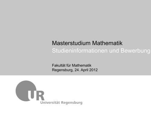 Masterstudium Mathematik Studieninformationen und Bewerbung