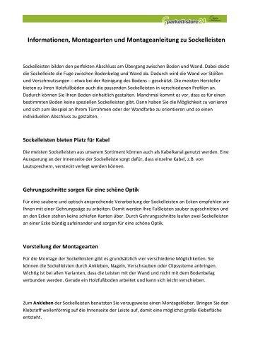 Informationen, Montagearten und ... - Parkett-Store24