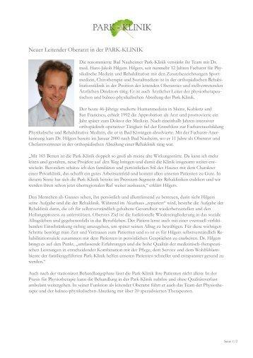 Pressemitteilung: Neuer Leitender Oberarzt in der PARK-KLINIK