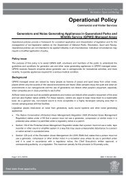 Noise generating appliances in QPWS managed areas