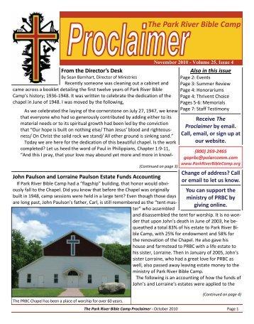 PRBC Proclaimer - November 2010 - Park River Bible Camp