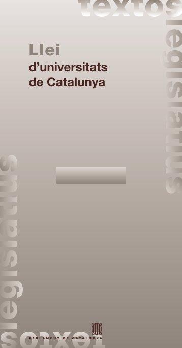 Llei 1/2003, de 19 de febrer, d'universitats de Catalunya