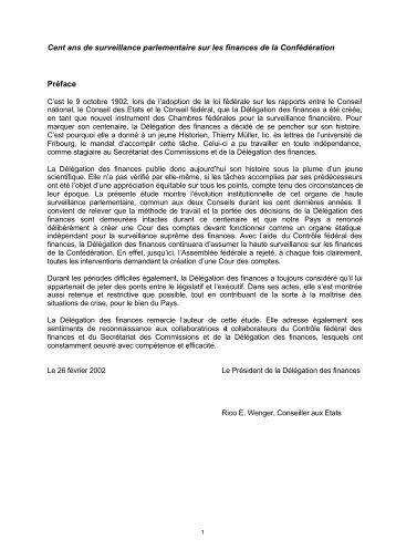 100 ans de la Délégation des finances PDF - Schweizer Parlament