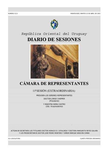 11ª Sesión extraordinaria del 22 de abril de 2003 - Poder Legislativo
