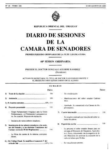 DIARIO DE SESIONES DE LA - Poder Legislativo