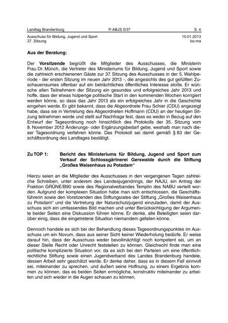 Landtag Brandenburg P-ABJS 5/37 Protokoll - Brandenburg.de