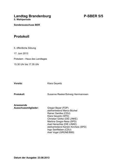 Landtag Brandenburg P-SBER 5/5 Protokoll - Land Brandenburg
