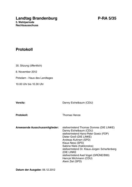 Landtag Brandenburg P-RA 5/35 Protokoll