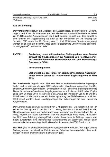 Landtag Brandenburg P-ABJS 5/41 Protokoll - Land Brandenburg