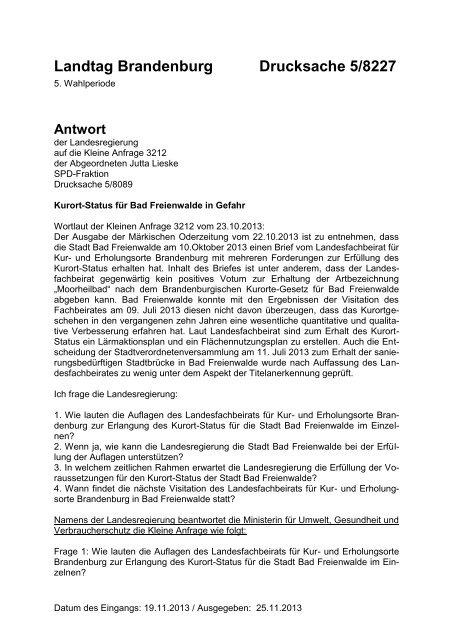 Kurort-Status für Bad Freienwalde in Gefahr