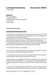 Kleine Anfrage - Land Brandenburg