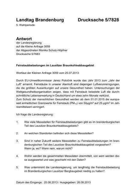 Landtag Brandenburg Drucksache 5/7828