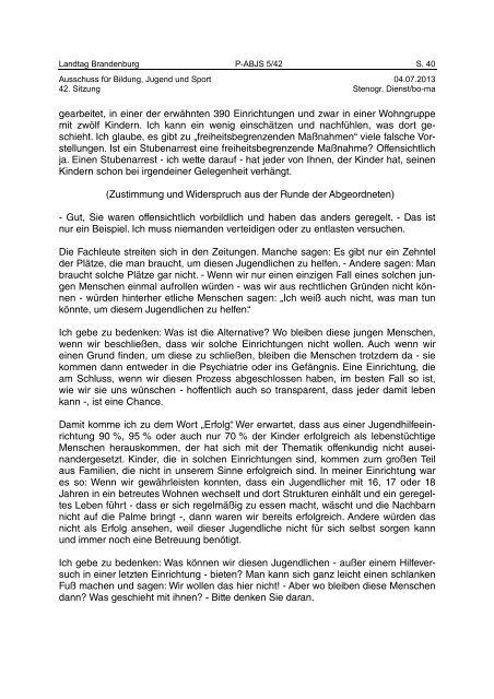 Landtag Brandenburg P-ABJS 5/42 Protokoll