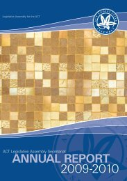 ANNUAL REPORT 2009-2010 - ACT Legislative Assembly - ACT ...